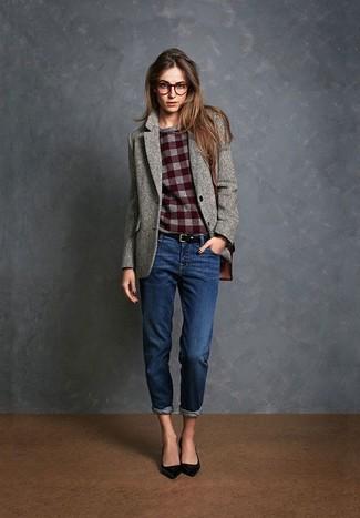 Women's Grey Wool Blazer, Burgundy Check Crew-neck Sweater, Navy Boyfriend Jeans, Black Leather Pumps