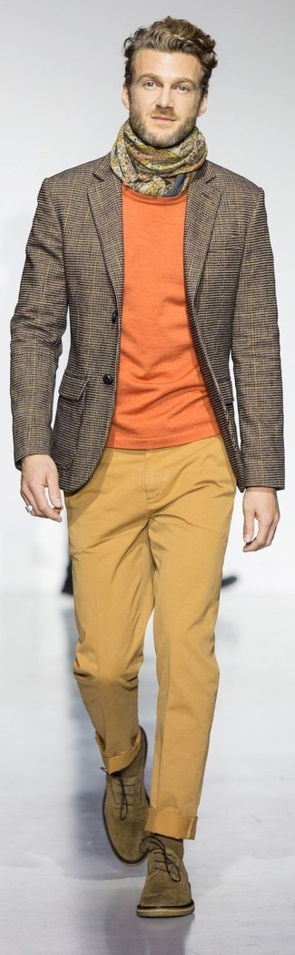 How to wear: brown check blazer, orange crew-neck sweater, mustard chinos, olive suede oxford shoes