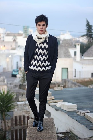 How to wear: black blazer, black and white chevron crew-neck sweater, black chinos, black leather chelsea boots