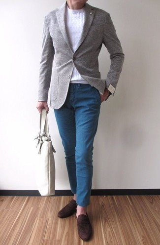 How to wear: grey wool blazer, white crew-neck sweater, blue chinos, dark brown suede loafers