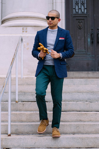 How to wear: navy wool blazer, grey crew-neck sweater, teal chinos, tobacco suede derby shoes