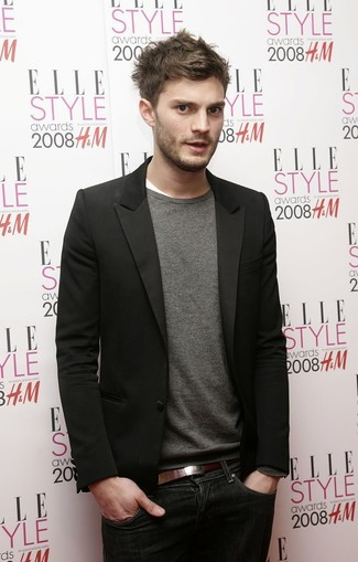 Jamie Dornan wearing Black Blazer, Grey Crew-neck Sweater, White Crew-neck T-shirt, Navy Jeans