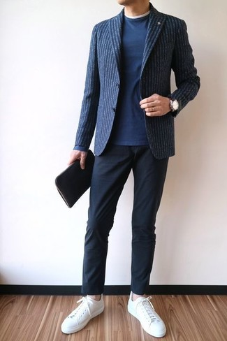 How to wear: navy vertical striped wool blazer, navy crew-neck sweater, white crew-neck t-shirt, black chinos