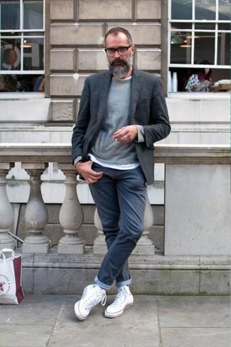 Men's Charcoal Wool Blazer, Grey Crew-neck Sweater, White Crew-neck T-shirt, Charcoal Jeans