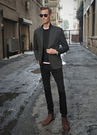 How to Wear Black Sunglasses For Men: For comfort dressing with a street style spin, dress in a charcoal blazer and black sunglasses. You know how to dial it up: dark brown suede chelsea boots.