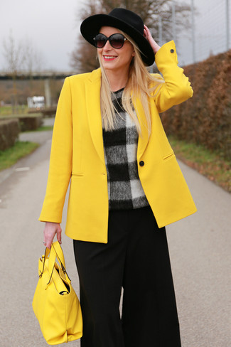 A yellow blazer and black culottes are a great outfit formula to have in your arsenal. These picks will keep you toasty and stylish in in-between weather.