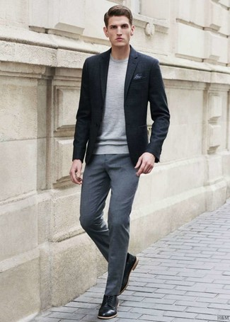How to wear: black blazer, grey crew-neck sweater, grey dress pants, black leather derby shoes