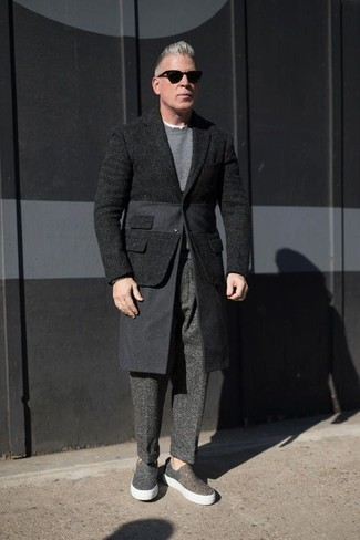 How to wear: black wool blazer, grey crew-neck sweater, charcoal wool dress pants, charcoal canvas slip-on sneakers
