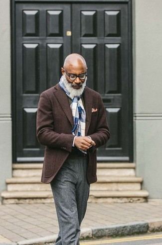 How to Wear an Olive Crew-neck Sweater For Men: For a look that's polished and gasp-worthy, team an olive crew-neck sweater with grey wool dress pants.