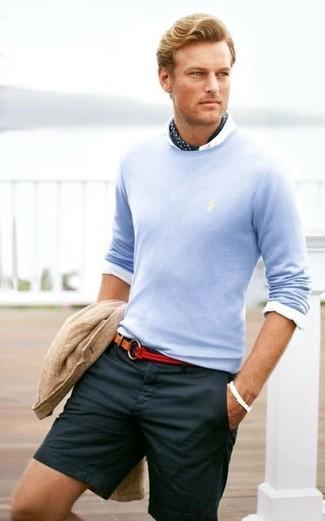 How to wear: beige knit cotton blazer, light blue crew-neck sweater, white dress shirt, navy shorts