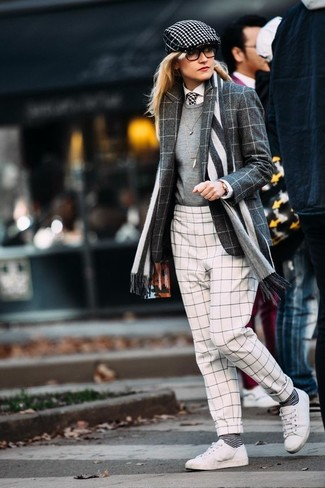 How to wear: charcoal check wool blazer, grey crew-neck sweater, white dress shirt, white and black check skinny pants