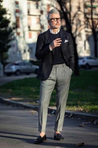 How to wear: black blazer, black crew-neck sweater, white dress shirt, grey wool dress pants