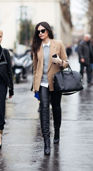 A camel wool blazer and black leather skinny jeans are perfect for both running errands and a night out. A pair of black leather knee high boots will seamlessly integrate within a variety of outfits.
