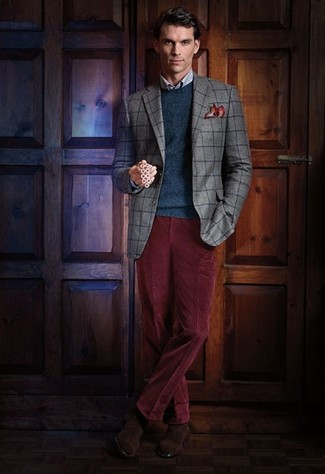 How to wear: grey check blazer, teal crew-neck sweater, light blue check dress shirt, burgundy corduroy dress pants