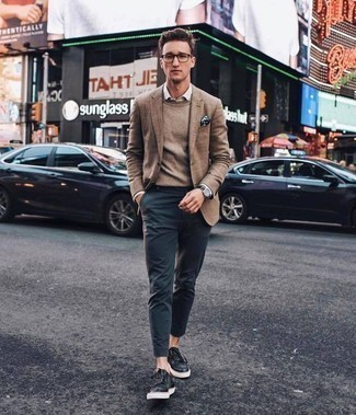 How to Wear a Black Leather Watch In Your 20s For Men: Go for a simple but casually dapper option pairing a brown blazer and a black leather watch. Introduce black leather low top sneakers to the equation to immediately dial up the fashion factor of this look.