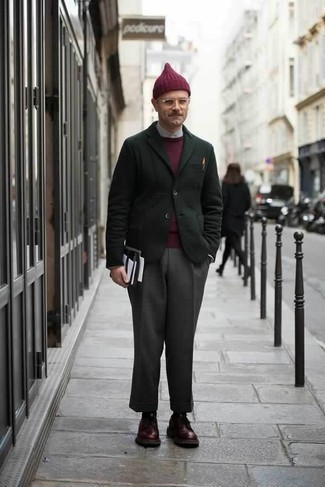 How to Wear a Burgundy Beanie For Men: If it's ease and practicality that you love in an outfit, wear a dark green blazer and a burgundy beanie. A pair of burgundy leather derby shoes will put a different spin on an otherwise all-too-common ensemble. If you're often not sure how to dress your age, this combination is a practical example.