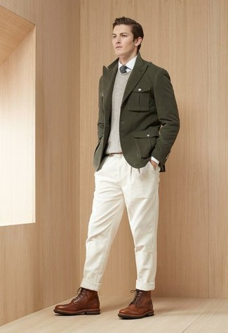 White Corduroy Chinos Outfits: When the dress code calls for a classy yet killer ensemble, consider teaming an olive blazer with white corduroy chinos. A pair of brown leather casual boots looks wonderful rounding off this ensemble.