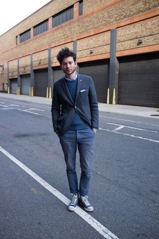 Light Blue Dress Shirt Outfits For Men: This semi-casual combination of a light blue dress shirt and blue chinos is super easy to put together without a second thought, helping you look dapper and ready for anything without spending a ton of time rummaging through your wardrobe. To infuse a more casual vibe into your look, complete your look with navy and white canvas high top sneakers.