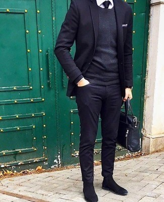 Jeans Outfits For Men: Pair a navy blazer with jeans if you're going for a crisp, sharp getup. With shoes, you can take a more elegant route with black suede chelsea boots.