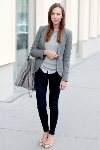 Women's Grey Blazer, Grey Crew-neck Sweater, Grey Dress Shirt, Navy Skinny Jeans