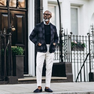 Espadrilles Outfits For Men: Marrying a navy plaid wool blazer with white dress pants is an on-point option for a dapper and polished outfit. Serve a little mix-and-match magic by wearing a pair of espadrilles.