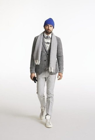 Gloves Outfits For Men: Perfect off-duty by opting for a grey plaid wool blazer and gloves. If you're not sure how to round off, a pair of white canvas high top sneakers is a fail-safe option.