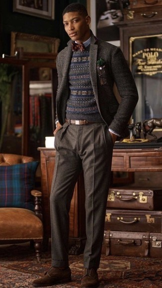 Bow-tie Outfits For Men: Make a dark brown plaid wool blazer and a bow-tie your outfit choice if you seek to look cool and casual without trying too hard. Up the ante of your outfit with a pair of dark brown suede brogues.