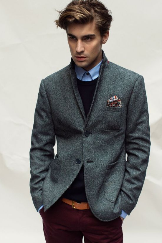 Men's Charcoal Wool Blazer, Black Crew-neck Sweater, Blue Dress ...