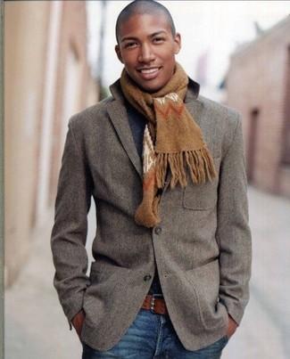 Blazer crew neck sweater jeans belt scarf large 1684