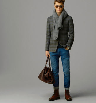 How to wear: grey plaid wool blazer, black crew-neck sweater, blue jeans, brown leather brogue boots