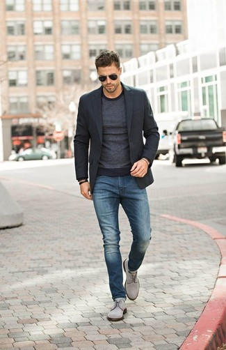 Men's Black Blazer, Charcoal Crew-neck Sweater, Blue Jeans, Grey Suede Derby Shoes