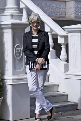 How to wear: black blazer, white and black horizontal striped crew-neck sweater, white jeans, black elastic wedge sandals