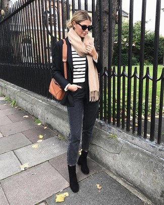 Try teaming a white and black horizontal striped crew-neck sweater with charcoal jeans to create a chic, glamorous look. Choose a pair of black suede ankle boots to kick things up to the next level. If it's one of those dull fall afternoons, what better to spice it up than a beyond chic outfit like this one?