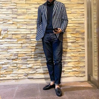 How to wear: navy vertical striped blazer, navy crew-neck sweater, navy jeans, black leather tassel loafers