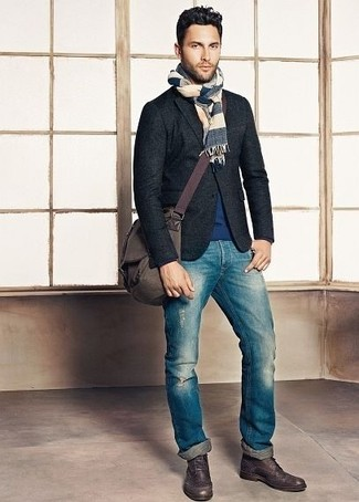 How to wear: charcoal wool blazer, navy crew-neck sweater, blue ripped jeans, dark brown leather brogue boots