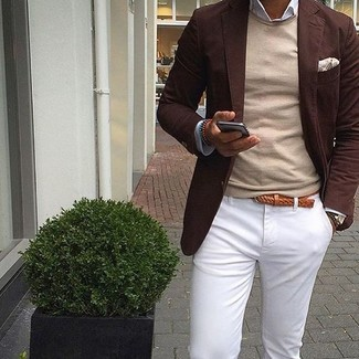 How to wear: dark brown blazer, beige crew-neck sweater, white long sleeve shirt, white chinos