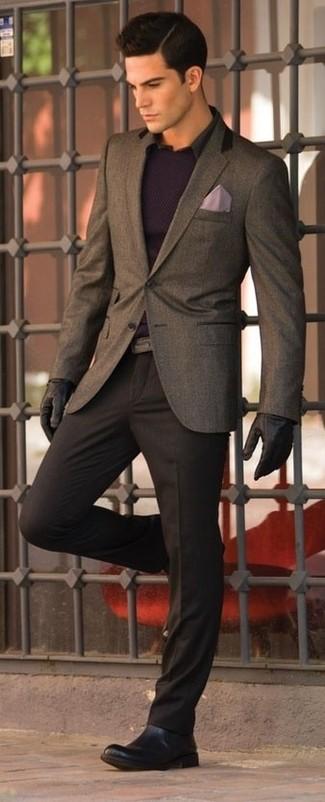 Men's Dark Brown Wool Blazer, Violet Crew-neck Sweater, Black Long ...