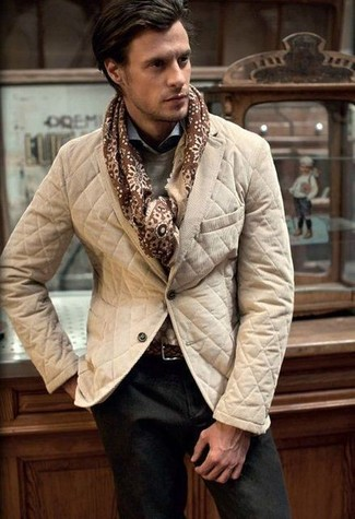 Pair a khaki quilted sport coat with dark brown chinos for drinks after work.