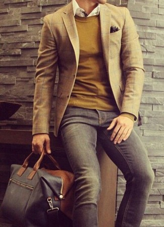 How to wear: brown plaid blazer, mustard crew-neck sweater, white long sleeve shirt, charcoal jeans