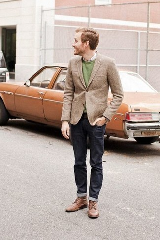 How to Wear a Green Crew-neck Sweater For Men: For an outfit that's pared-down but can be worn in many different ways, pair a green crew-neck sweater with navy jeans. To bring some extra flair to this ensemble, complement your look with brown leather casual boots.