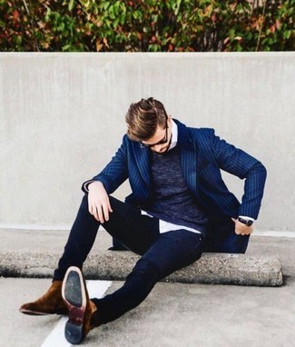 Black Sunglasses Outfits For Men: Team a blue vertical striped blazer with black sunglasses if you're on a mission for a look option that conveys city casual style. Want to dial it up with footwear? Complement your ensemble with a pair of brown suede chelsea boots.