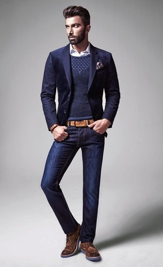 This combo of a Dolce & Gabbana men's Polka Dot Shirt and navy jeans spells comfort and style. A pair of brown suede brogue boots will add more polish to your overall look.  On not-so-chilly afternoons, you can sport this summer-to-fall outfit and look absolutely awesome.