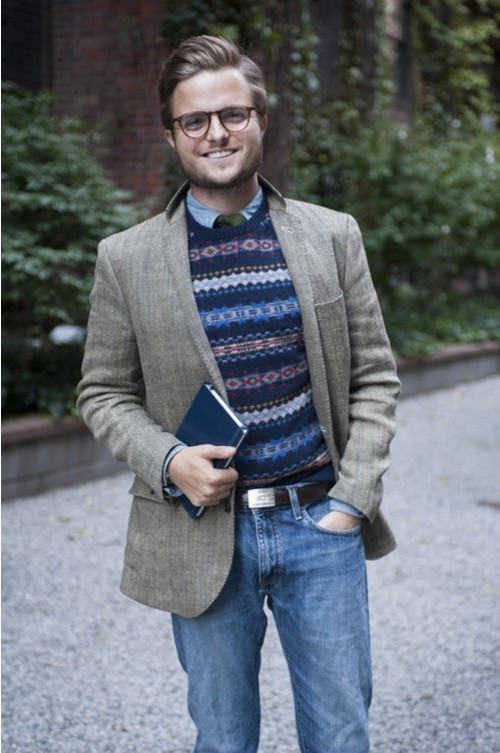 How to Wear a Navy and White Fair Isle Crew-neck Sweater (20 looks ...