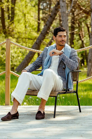 White Dress Pants Outfits For Men: You can be sure you'll look modern and classic in a grey plaid blazer and white dress pants. For maximum effect, complement this ensemble with a pair of dark brown suede loafers.