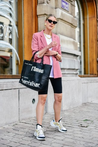 How to wear: pink blazer, white crew-neck t-shirt, black bike shorts, white athletic shoes