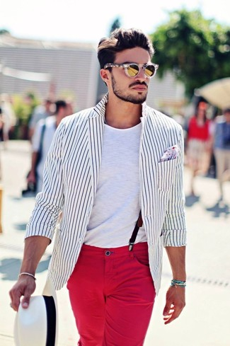 How to wear: white and black vertical striped blazer, white crew-neck t-shirt, red chinos, white straw hat
