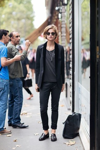 How to wear: black blazer, charcoal crew-neck t-shirt, black chinos, burgundy leather loafers