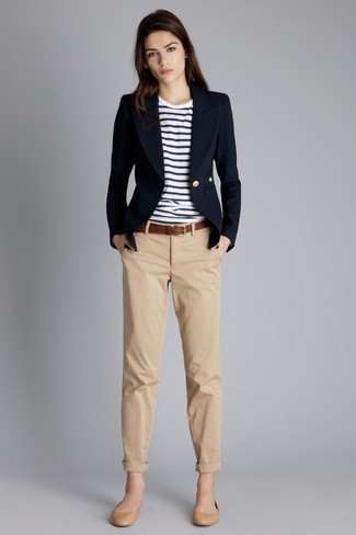 How to wear: navy blazer, white and navy horizontal striped crew-neck t-shirt, khaki chinos, tan leather ballerina shoes