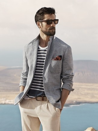 You'll be surprised at how very easy it is for any gentleman to pull together this casually smart outfit. Just a grey cotton blazer and beige chinos.