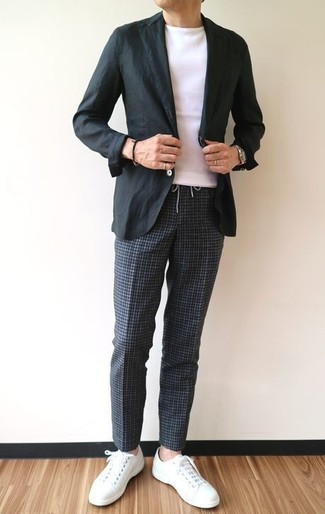 How to wear: black cotton blazer, white crew-neck t-shirt, charcoal check chinos, white leather low top sneakers